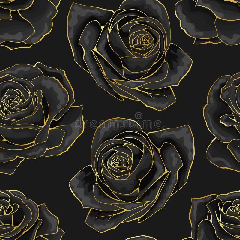 Vector o teste padr?o sem emenda Flores cor-de-rosa do esbo?o dourado no fundo preto ilustração royalty free