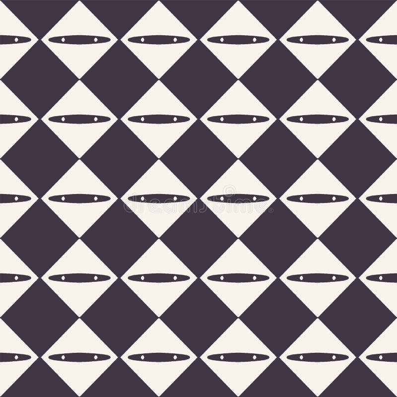 Vector o teste padr?o sem emenda Fundo abstrato do tabuleiro de damas do diamante Mão monocromática ilustração tirada da textura  ilustração do vetor
