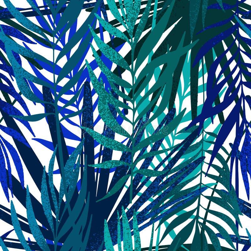 Vector o teste padr?o sem emenda Papel de parede minimalistic das folhas de palmeira Fundo tropical tirado m?o foto de stock