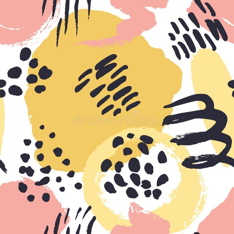 Vector o teste padr?o sem emenda Pontos pintados coloridos da aquarela Elementos tirados m?o da textura imagem de stock royalty free