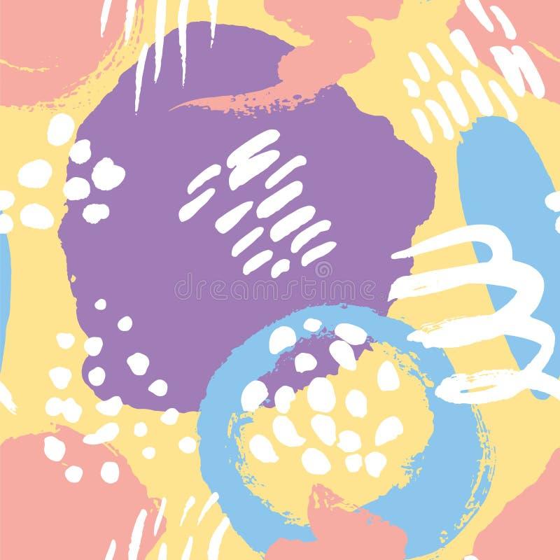 Vector o teste padr?o sem emenda Pontos pintados coloridos da aquarela Elementos tirados m?o da textura imagens de stock