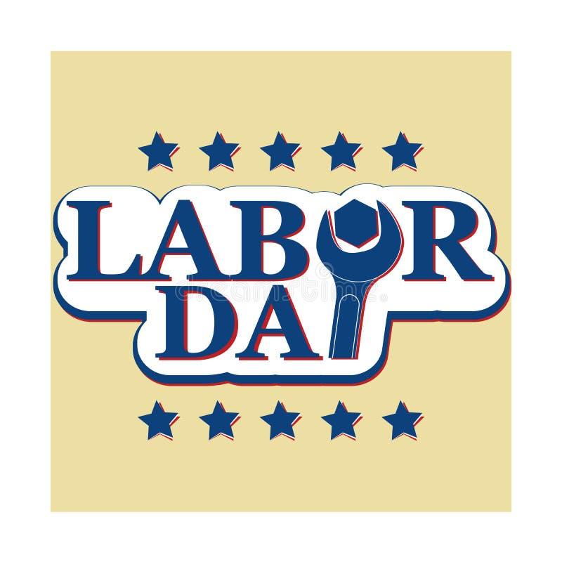 Vector o texto do dia e do Dia do Trabalhador dos trabalhadores com chave da porca ilustração royalty free