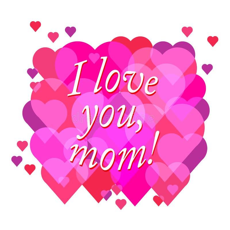 Vector o texto feliz do dia de mãe com coração no colo vermelho e roxo ilustração do vetor