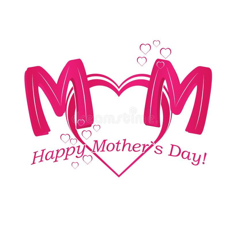 Vector o texto feliz do dia de mãe com coração no colo vermelho e roxo ilustração royalty free
