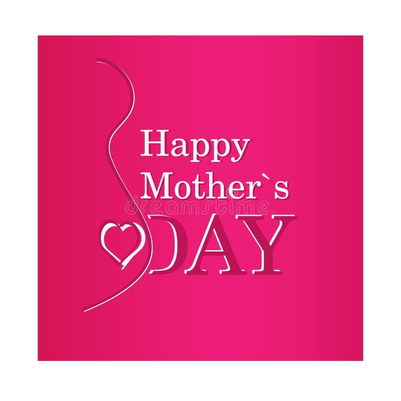 Vector o texto feliz do dia de mãe com a silhueta da gravidez no purp ilustração stock