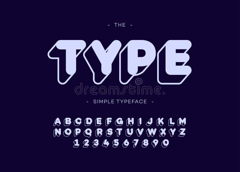 Vector o tipo estilo corajoso de Sans Serif da tipografia da fonte 3d ilustração stock