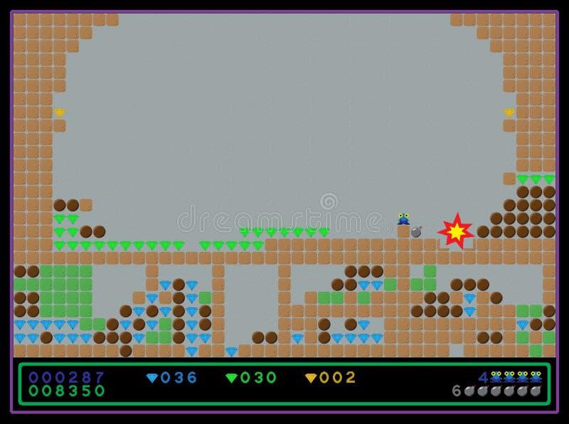 Vector o tiro de tela do jogo de computador do estilo antigo
