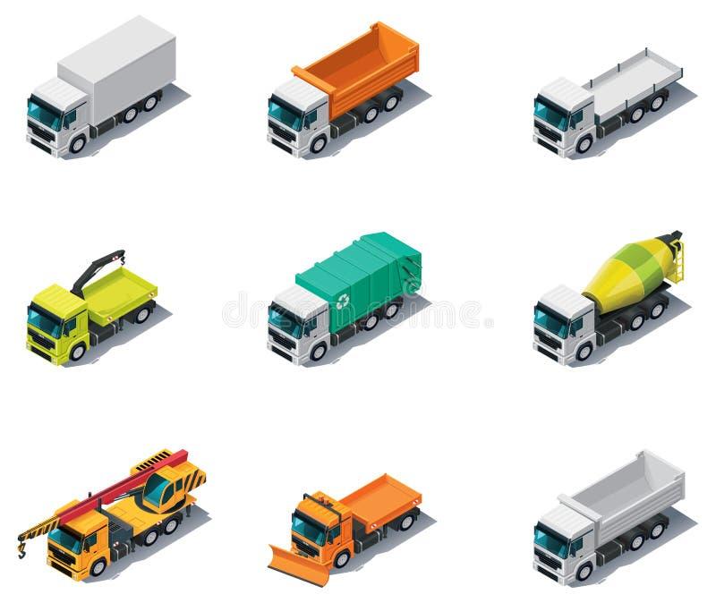 Vector o transporte isométrico. Caminhões ilustração do vetor
