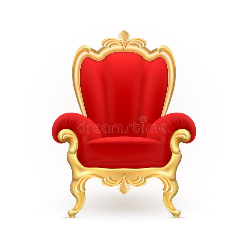 Vector o trono real realístico, cadeira vermelha luxuoso ilustração royalty free