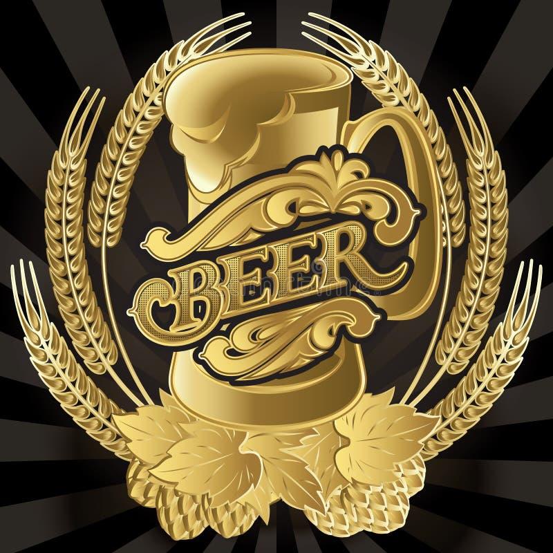 Vector o vidro da cerveja no fundo preto para o menu ilustração royalty free