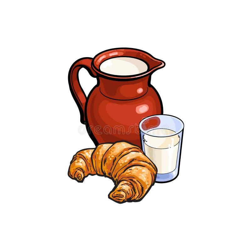 Vector o vidro do esboço do leite, croissant da vasilha de barro do jarro ilustração royalty free