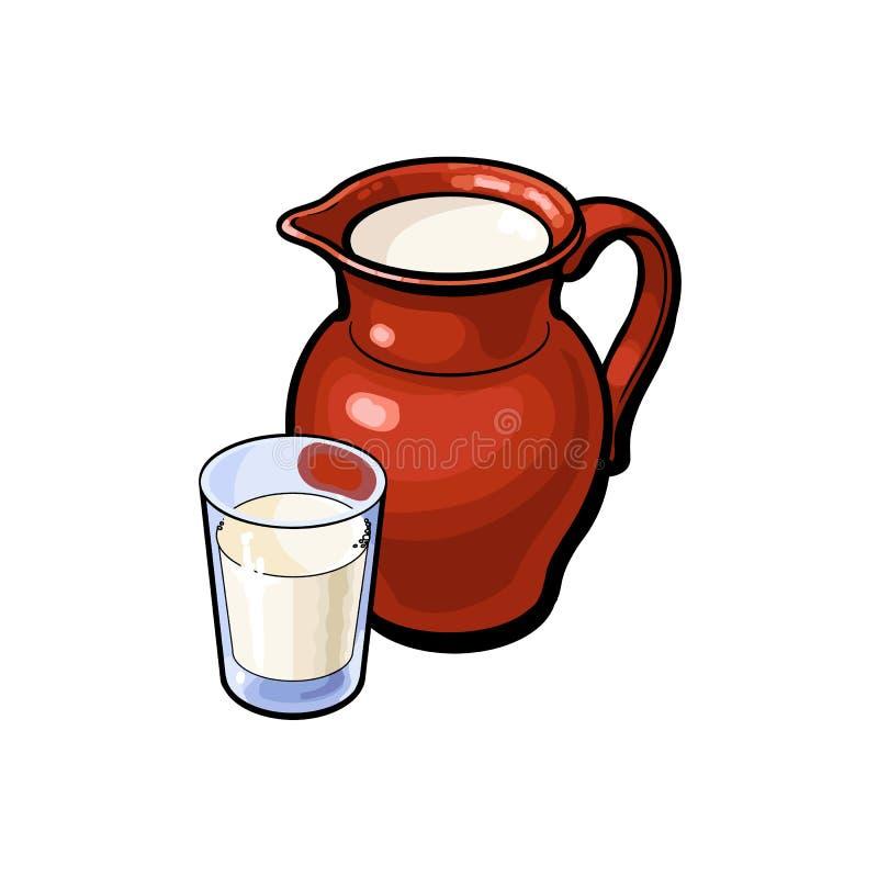 Vector o vidro do esboço do leite, vasilha de barro cerâmica do jarro ilustração royalty free