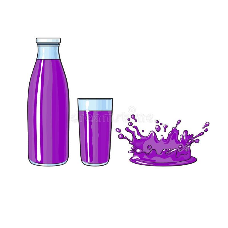 Vector o vidro, garrafa do suco de fruto roxo, respingo ilustração royalty free