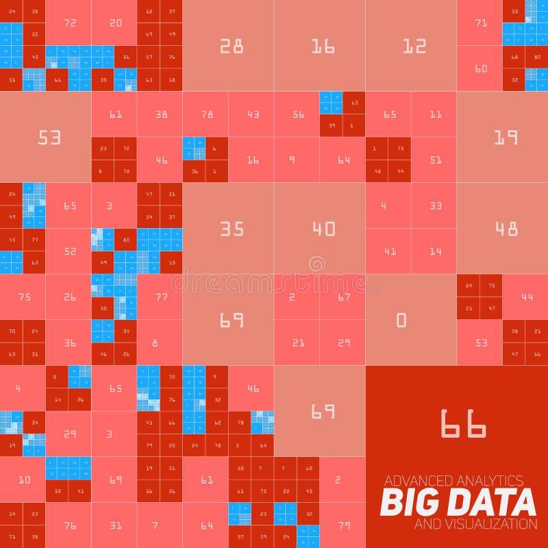 Vector o visualização grande financeiro colorido abstrato do gráfico dos dados Projeto estético do infographics futurista dos blo ilustração stock