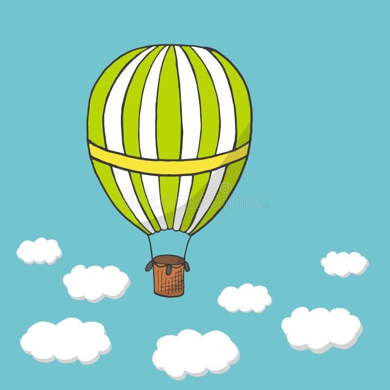 Vector o voo da ilustração, o verde e o amarelo de ar quente do balão ilustração stock