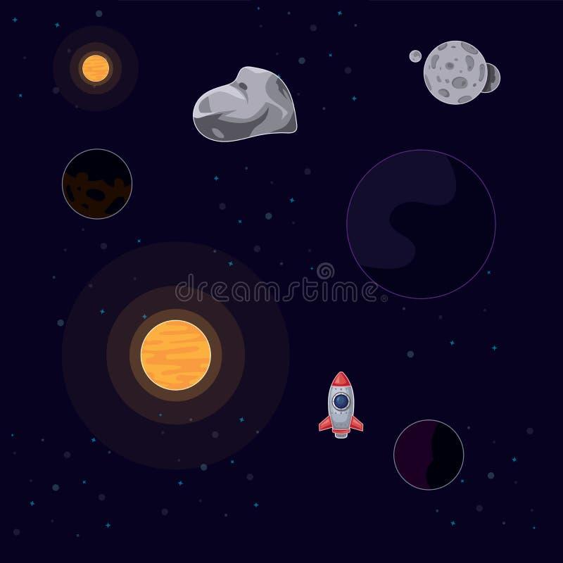 Vector o voo do foguete da ilustração no espaço entre o sol, a lua, as estrelas e os asteroides em um fundo escuro ilustração royalty free