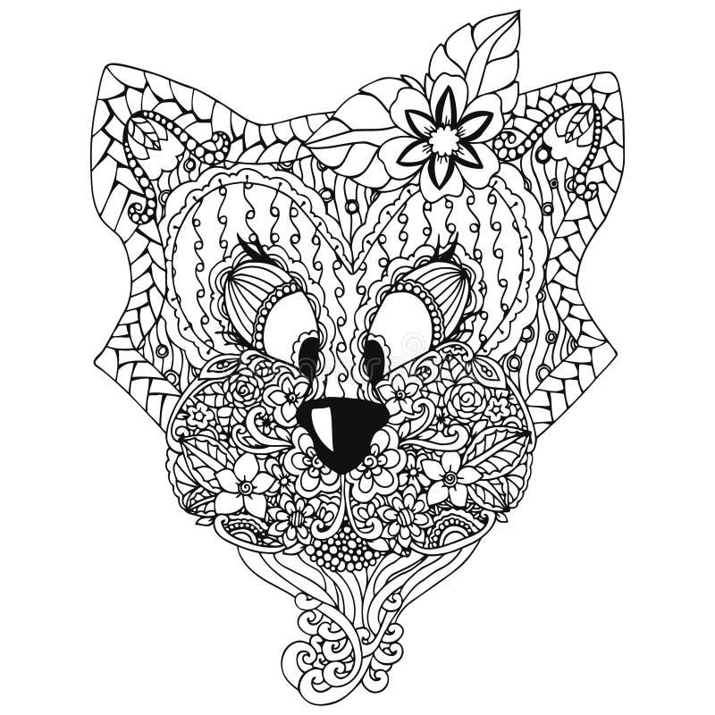 Vector o zentangl da ilustração, um gato com um desenho floral da garatuja do ornamento Exercícios meditativos Livro para colorir ilustração do vetor