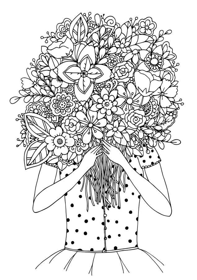 Vector o zentangl da ilustração, uma menina e o ramalhete das flores Desenho da garatuja Exercícios meditativos Livro para colori ilustração stock