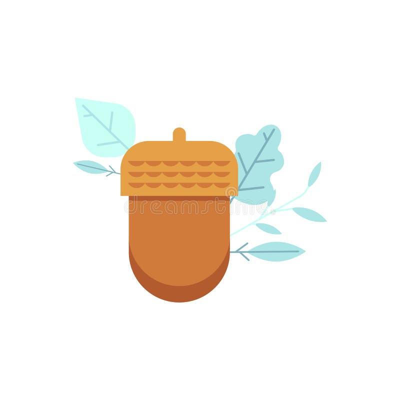Vector Oak acorn icon in flat style. vector illustration