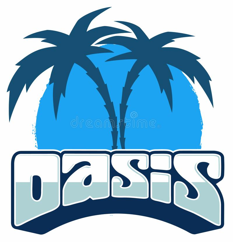 Vector oasis logo with two palm trees, isolated on white background. vector illustration