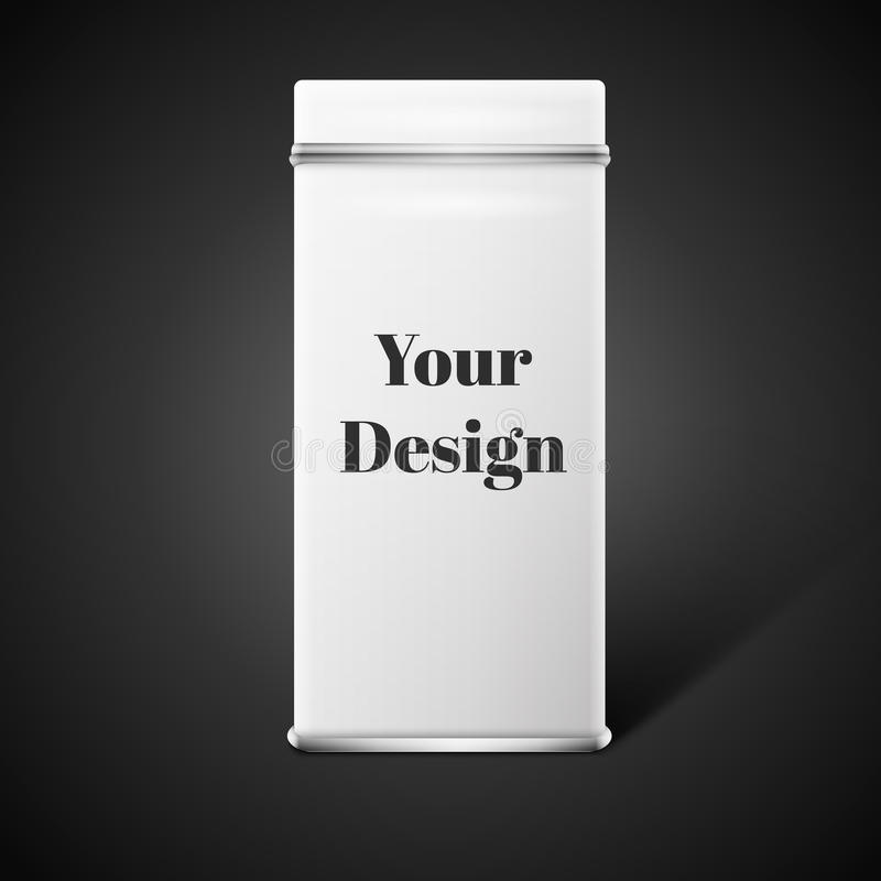 Vector object. White square tin packaging. Tea. Coffee dry products. Place your design stock illustration