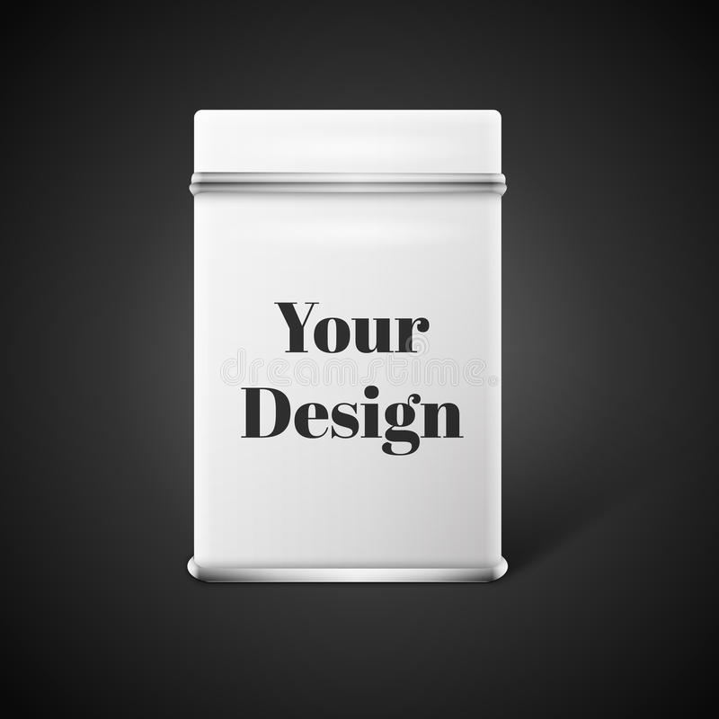 Vector object. White square tin packaging. Tea. Coffee dry products. Place your design vector illustration