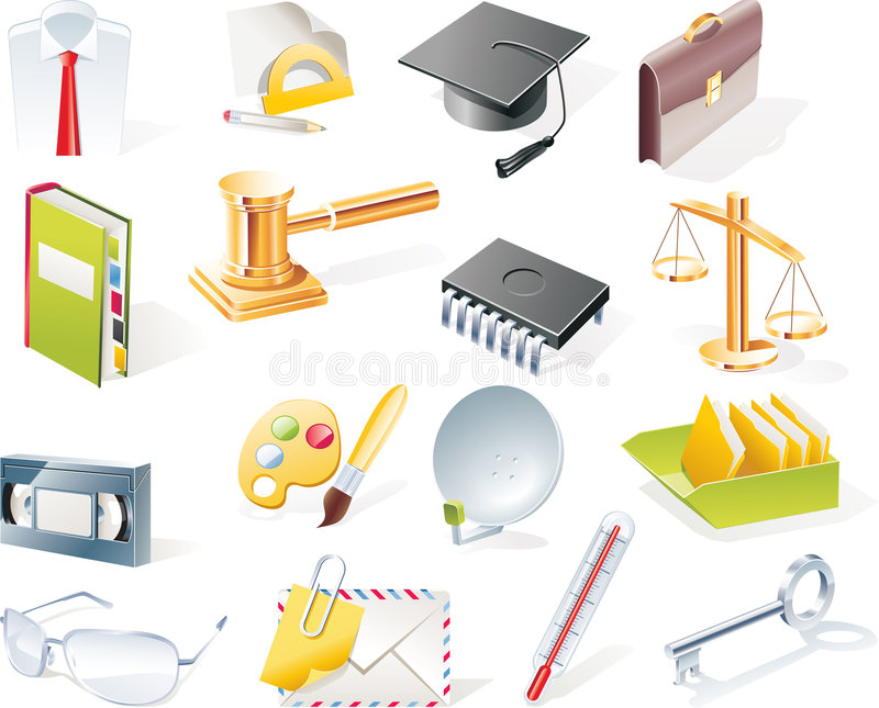Vector objects icons set. Part 10 stock illustration