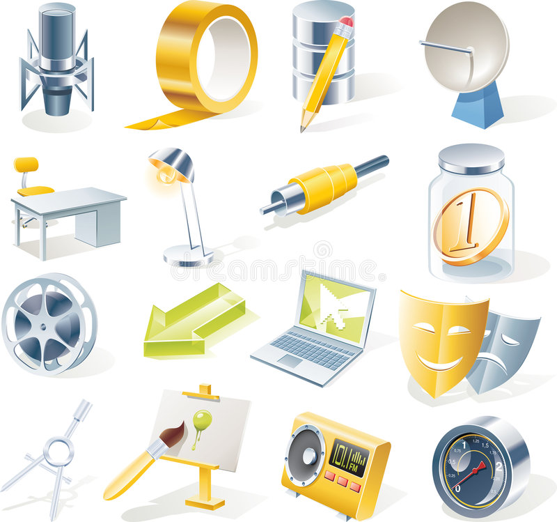 Free Vector Objects Icons Set. Part 11 Royalty Free Stock Photography - 9183257