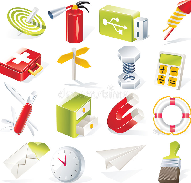 Vector objects icons set. Part 6. Set of colorful and bright icons royalty free illustration