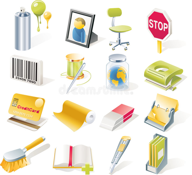 Free Vector Objects Icons Set. Part 8 Royalty Free Stock Image - 9150576