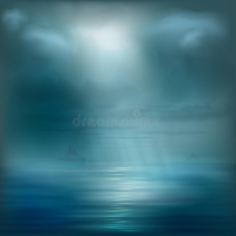 Download Vector Ocean Water With A Ship Stock Image - Image of decoration, blue: 36536885