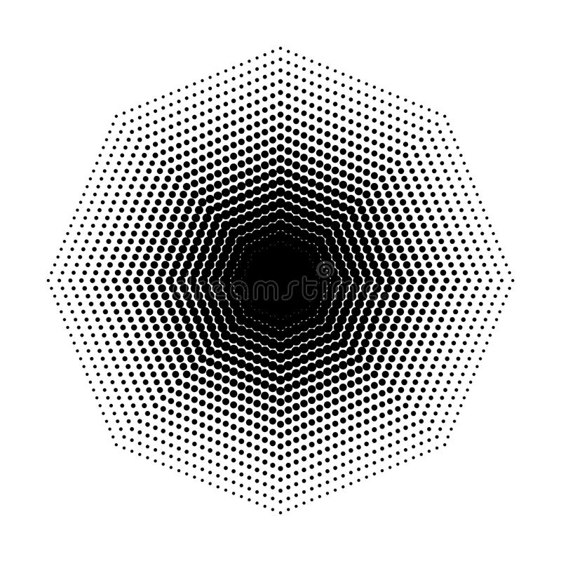 Vector Octagon halftone geometric shapes, Dot design abstract background Art royalty free illustration