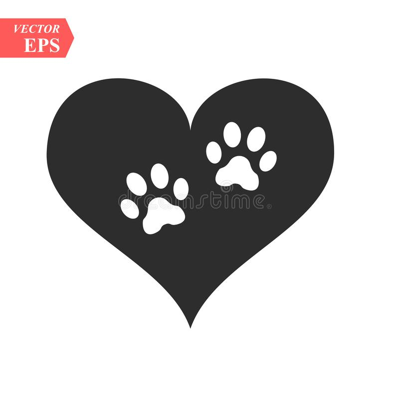 Free Vector Of A White Animal Pawprint In A Black Heart On White Background To Be Uses As A Logo Or Illustration Stock Photography - 139211102