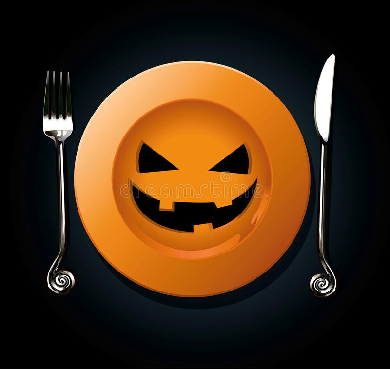Free Vector Of Halloween Pumkin Plate Royalty Free Stock Image - 44412776