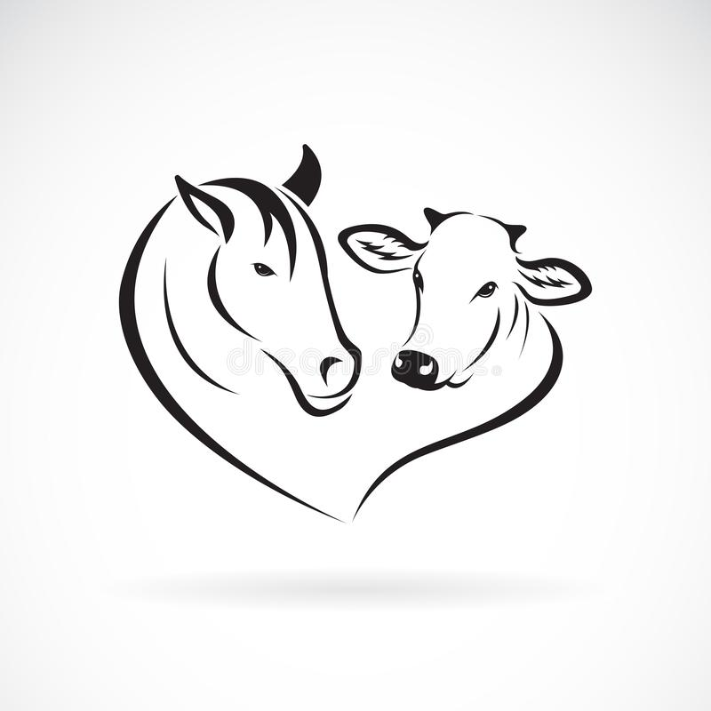 Free Vector Of Horse Head And Cow Head Design On A White Background. Animals Farm. Easy Editable Layered Vector Illustration Royalty Free Stock Images - 151377989