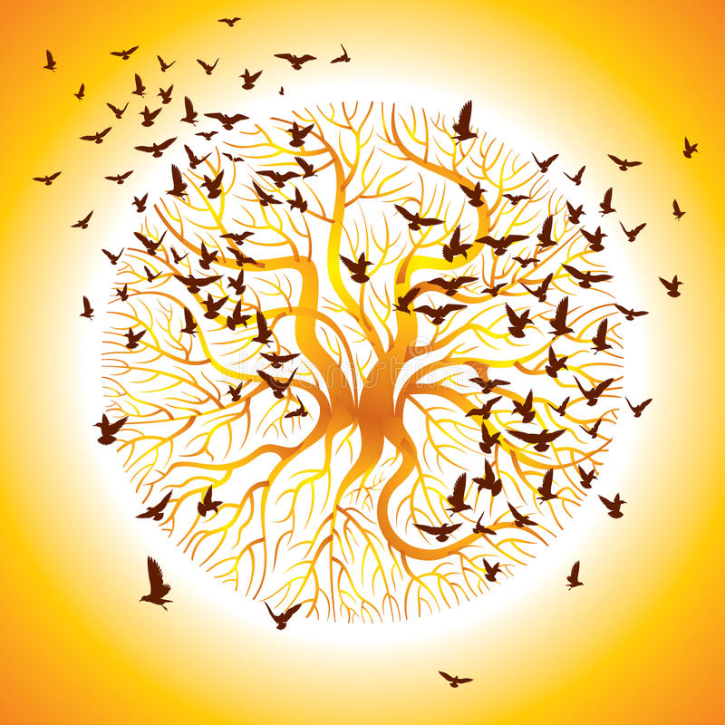 Free Vector Of The Crows On The Tree Royalty Free Stock Photography - 28533767