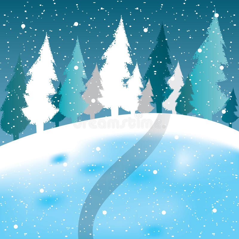Free Vector Of Winter Scene, White Snow And Blue Sky. Stock Photos - 47386933