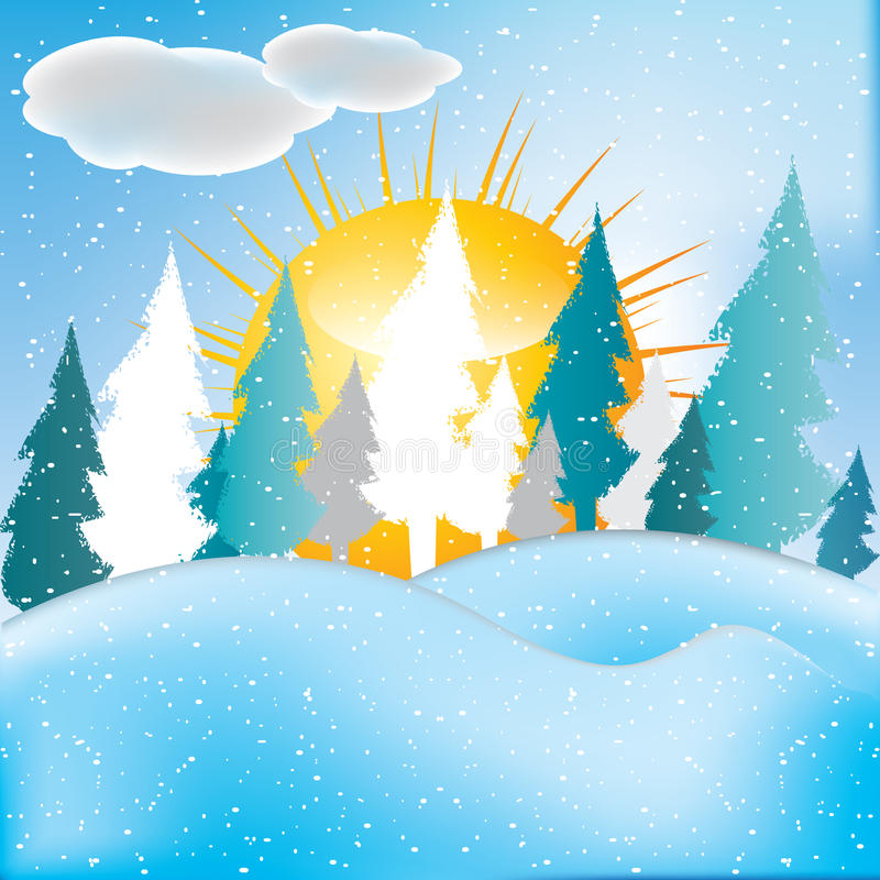Free Vector Of Winter Scene, White Snow And Blue Sky. Royalty Free Stock Images - 48593549