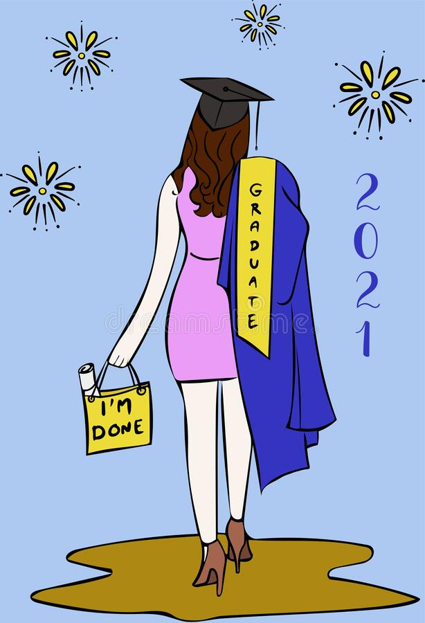 Free Vector Of Young Woman Success Graduation And Diploma In Bag. Royalty Free Stock Image - 213502416