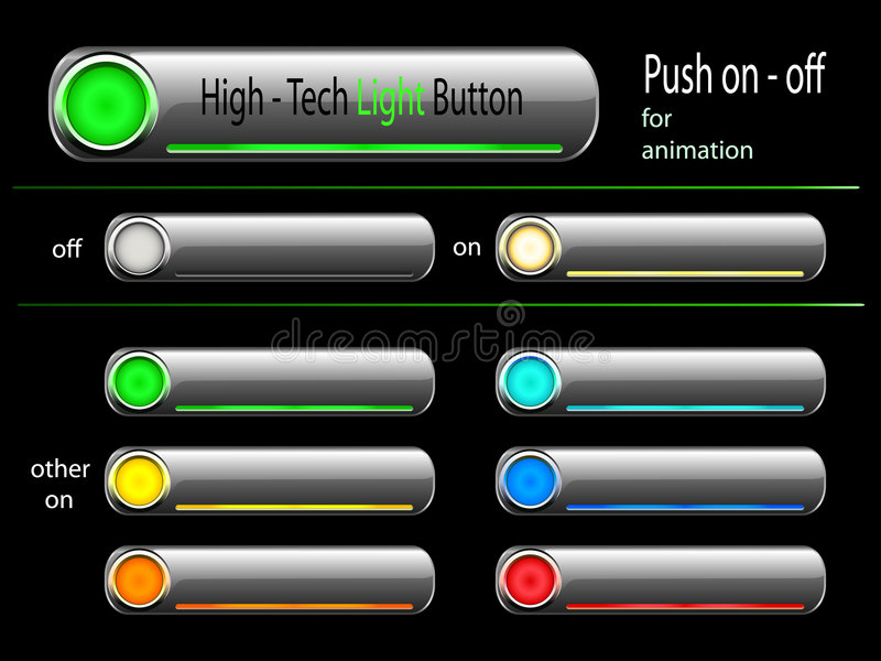 Vector - on and off high tech button vector illustration