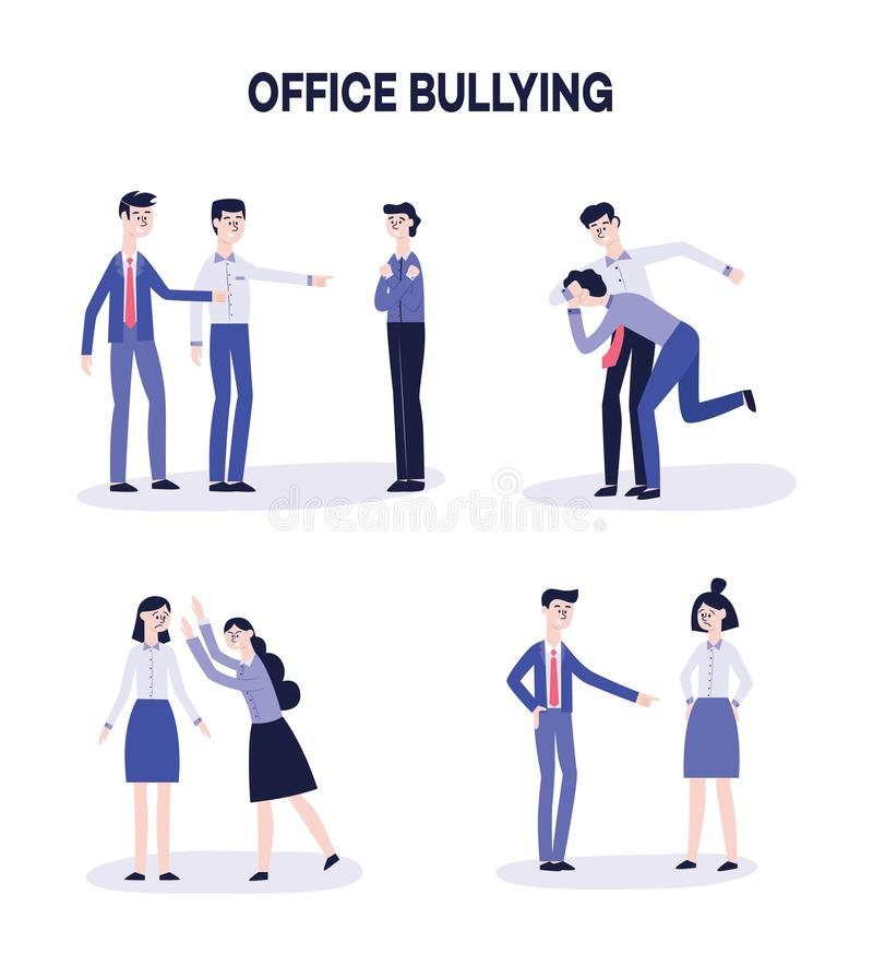 Vector office harassment, bully men mocking victim. Vector office bullying and harassment concept set. Angry male, female colleagues pointing out mocking sad vector illustration