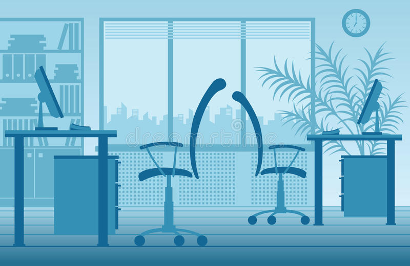 Vector office interior. Two workplaces on the background of the windows. illustrator eps 8