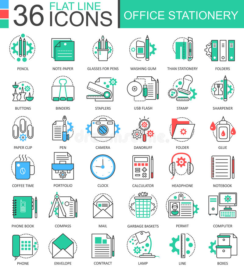 Vector Office stationery color flat line outline icons for apps and web design. Stationery icons elements. Vector Office stationery color flat line outline royalty free illustration