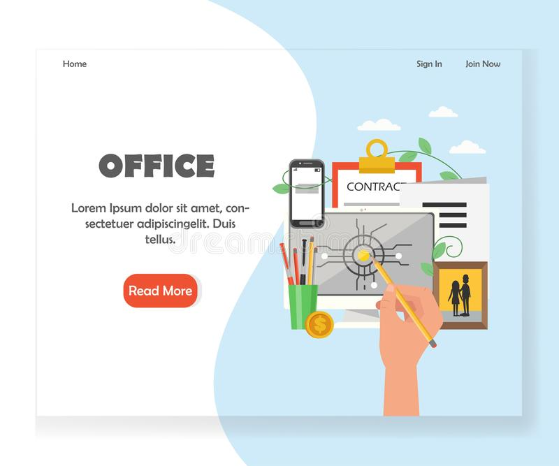 Vector office workspace website landing page design template. Office landing page template. Vector flat style design concept for office space website and mobile