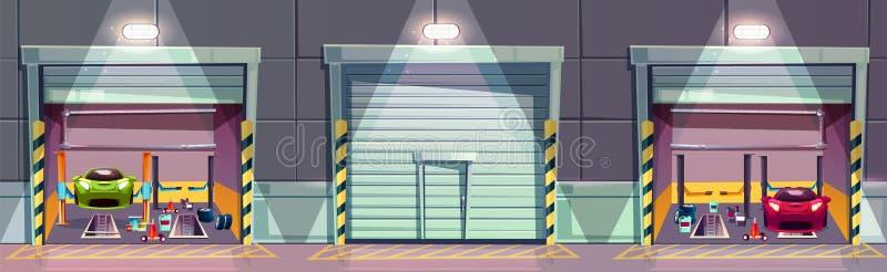 Vector a oficina do mecânico dos desenhos animados com carro, garagem ilustração stock