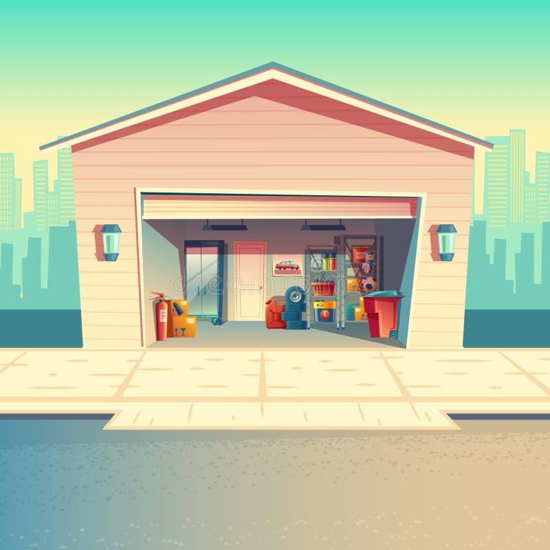 Vector a oficina do mecânico dos desenhos animados, encaixe, garagem do reparo ilustração stock