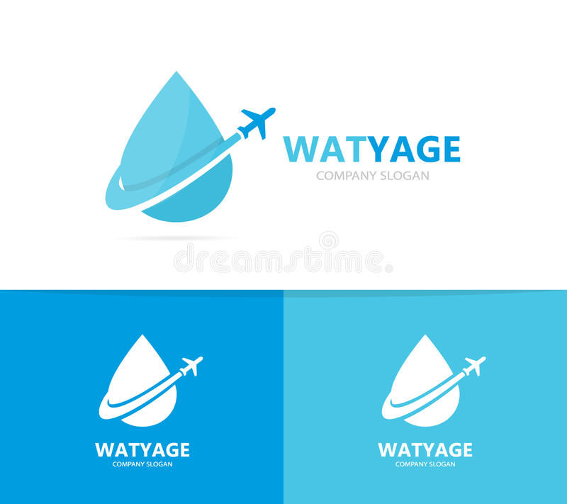Vector Of Oil And Airplane Logo Combination Drop And Travel Symbol