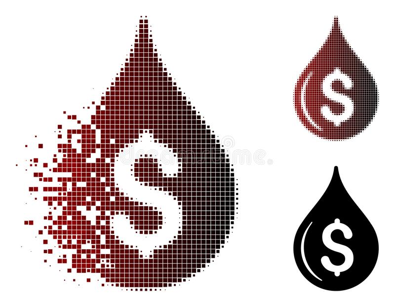 Destructed Pixel Halftone Oil Drop Price Icon. Vector oil drop price icon in fractured, pixelated halftone and undamaged whole versions. Disappearing effect uses royalty free illustration