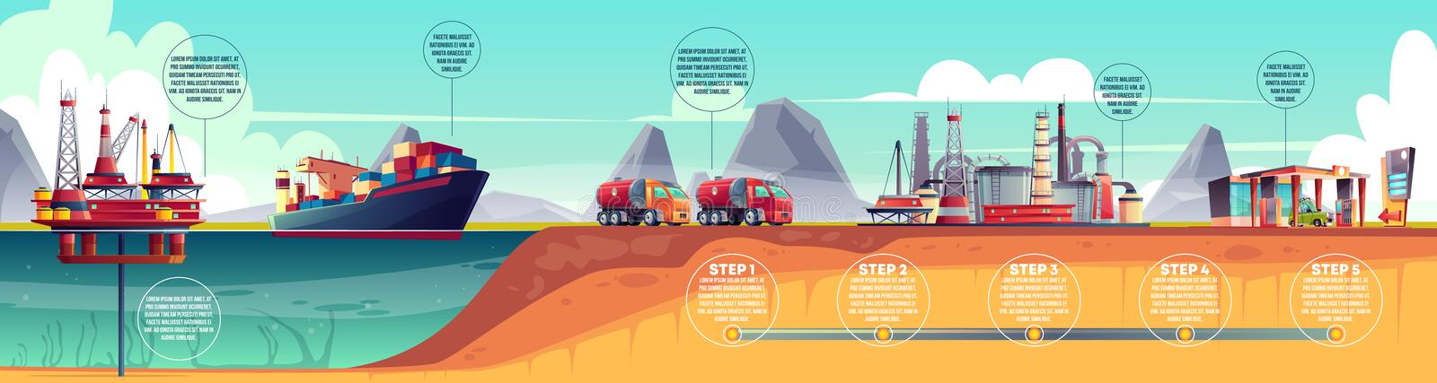 Vector oil industry infographics, timeline. Extraction, transportation vector illustration