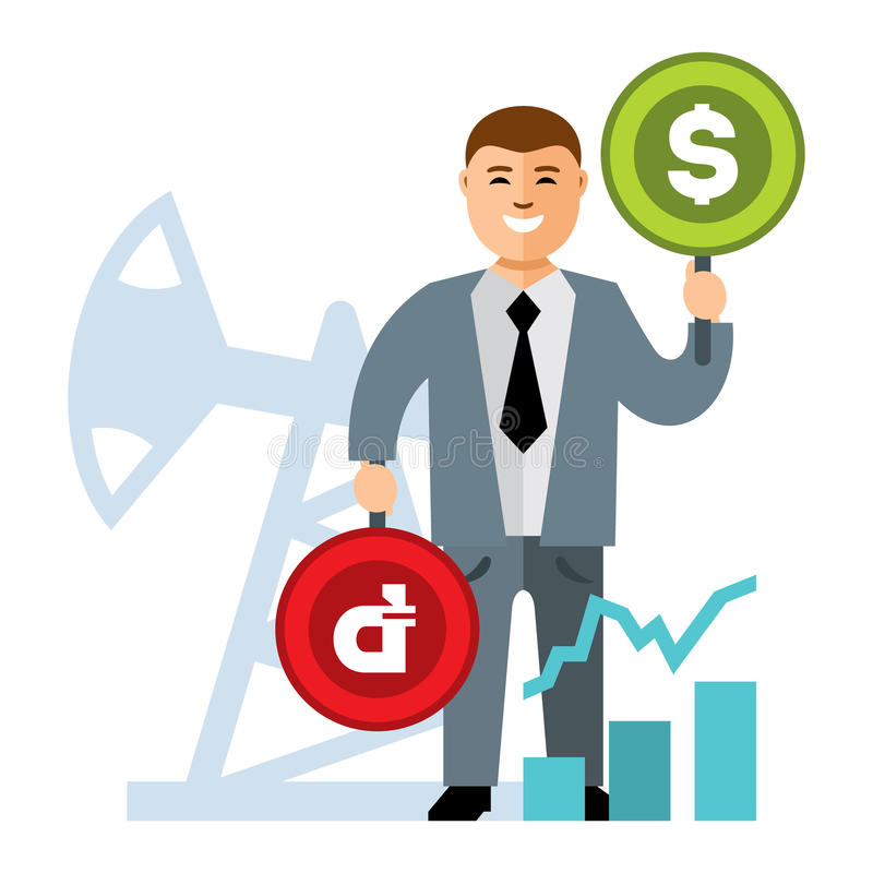 Vector Oil and money rate. Flat style colorful Cartoon illustration. vector illustration